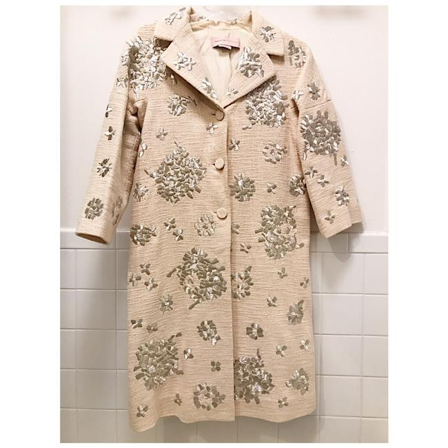 Item - Cream Max Azria Embroidered Coat Jacket Size 0 (XS)
