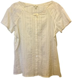 J. Jill Cotton Doubled Buttons Short Sleeve New With Tags Top Ivory