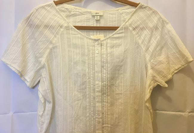 J. Jill Cotton Doubled Buttons Short Sleeve New With Tags Top Ivory Image 1
