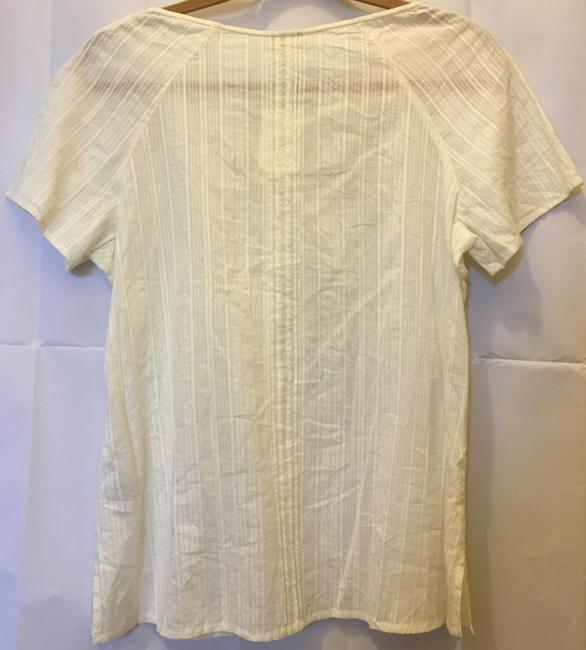 J. Jill Cotton Doubled Buttons Short Sleeve New With Tags Top Ivory Image 7