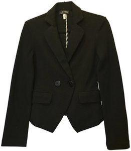 Armani Jeans Cotton Blend Double Breasted Logo Buttons Long Sleeve Black Blazer
