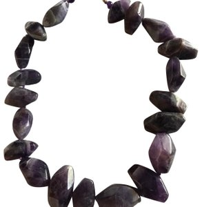 Gold Stone Jewelry Chunky Natural Amethyst Statement Necklace
