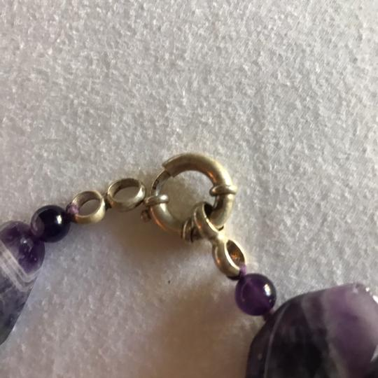 Gold Stone Jewelry Chunky Natural Amethyst Statement Necklace Image 2