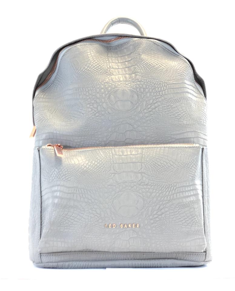8776e8a60 Ted Baker New Women s Rahri Reflective Croc Embossed Back Light Gray Faux  Leather Backpack