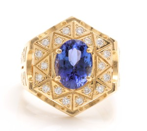 Other 5.35Ct Natural Tanzanite and Diamond 14K Solid Yellow Gold Men's Ring