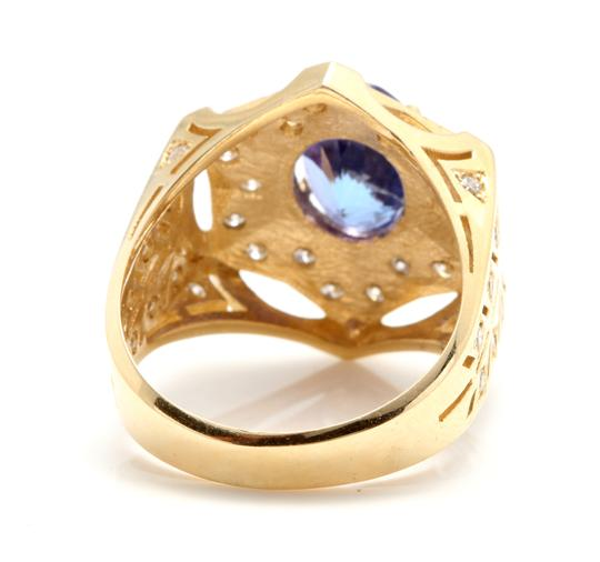 Other 5.35Ct Natural Tanzanite and Diamond 14K Solid Yellow Gold Men's Ring Image 2
