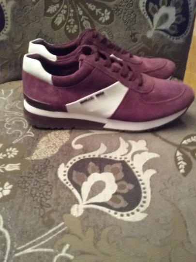 Michael Kors Allie Sneaker Suede/Leather Burgundy White Athletic Image 2