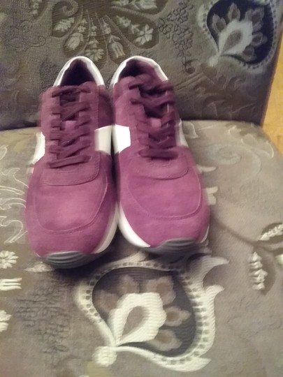 Michael Kors Allie Sneaker Suede/Leather Burgundy White Athletic Image 4