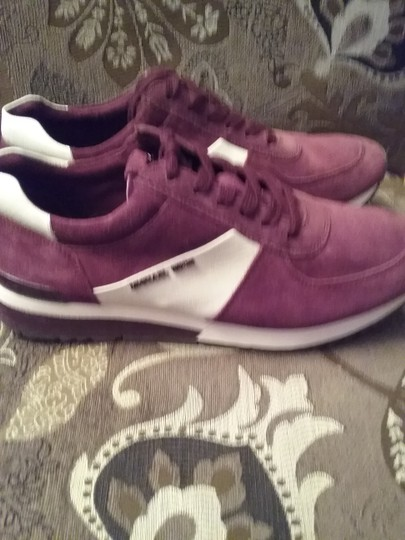 Michael Kors Allie Sneaker Suede/Leather Burgundy White Athletic Image 6