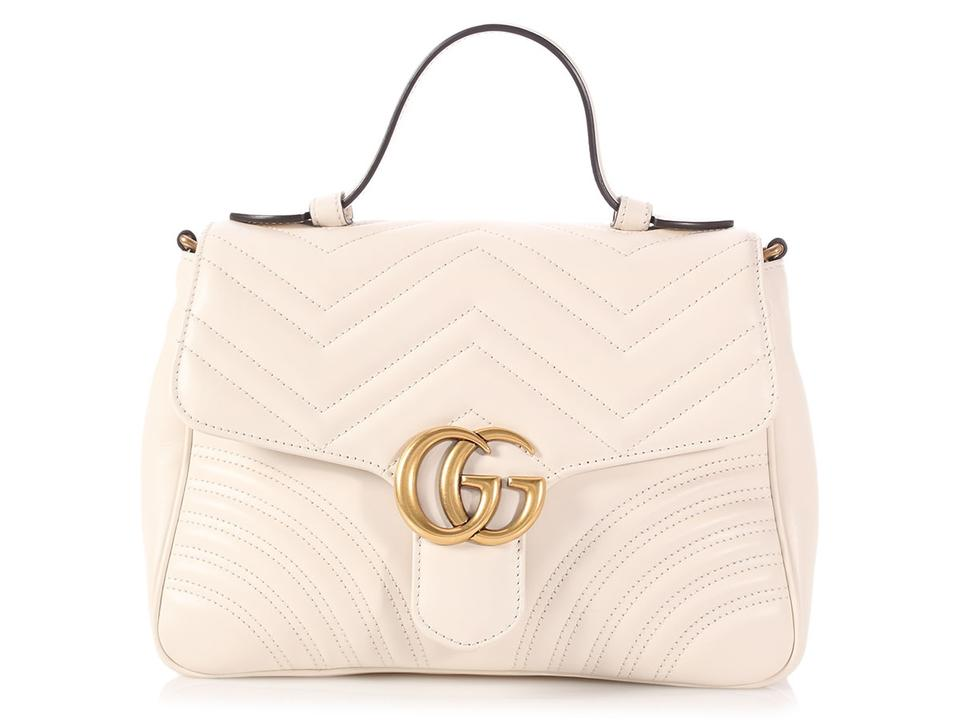 559ce14bac9e Gucci Marmont Small Gg Quilted White Leather Shoulder Bag - Tradesy