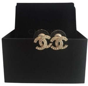 Chanel Cc Logo Crystal Classic Stud Earrings