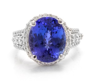 Other 13.00 Carats NATURAL TANZANITE and DIAMOND 14K Solid White Gold Ring