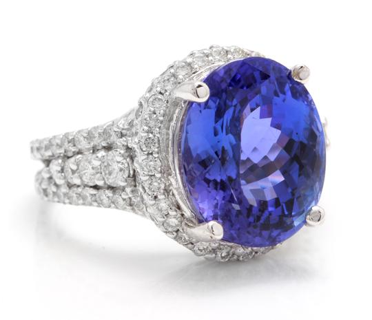 Other 13.00 Carats NATURAL TANZANITE and DIAMOND 14K Solid White Gold Ring Image 1