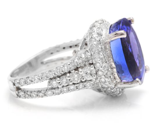 Other 13.00 Carats NATURAL TANZANITE and DIAMOND 14K Solid White Gold Ring Image 2