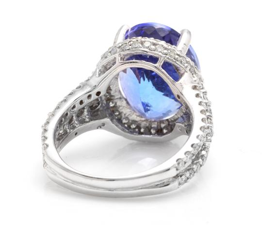 Other 13.00 Carats NATURAL TANZANITE and DIAMOND 14K Solid White Gold Ring Image 3