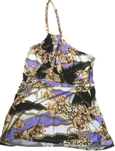 Cache Chain Gold Hardware purple multi Halter Top