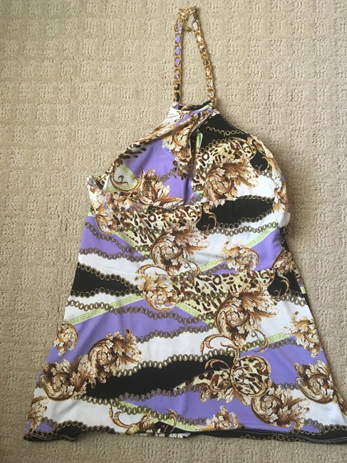 Cache Chain Gold Hardware purple multi Halter Top Image 1