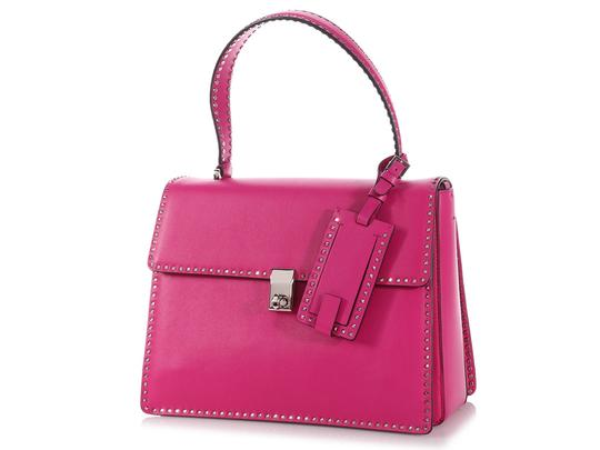 Valentino Vl.p1008.13 Silver Logo Fuchsia Studded Reduced Price Satchel in Pink Image 1