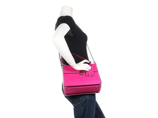 Valentino Vl.p1008.13 Silver Logo Fuchsia Studded Reduced Price Satchel in Pink Image 10