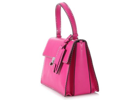 Valentino Vl.p1008.13 Silver Logo Fuchsia Studded Reduced Price Satchel in Pink Image 2