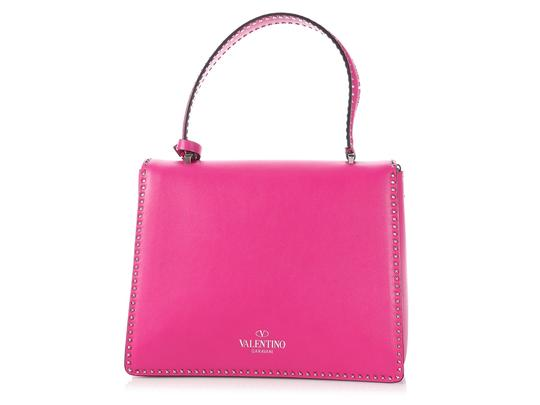 Valentino Vl.p1008.13 Silver Logo Fuchsia Studded Reduced Price Satchel in Pink Image 3