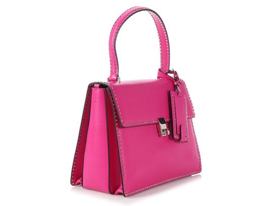 Valentino Vl.p1008.13 Silver Logo Fuchsia Studded Reduced Price Satchel in Pink Image 4