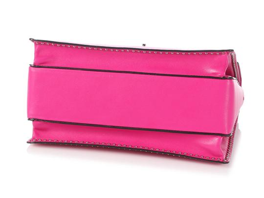 Valentino Vl.p1008.13 Silver Logo Fuchsia Studded Reduced Price Satchel in Pink Image 5