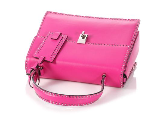 Valentino Vl.p1008.13 Silver Logo Fuchsia Studded Reduced Price Satchel in Pink Image 6