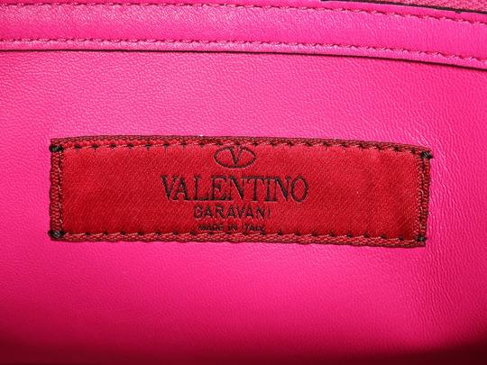 Valentino Vl.p1008.13 Silver Logo Fuchsia Studded Reduced Price Satchel in Pink Image 8