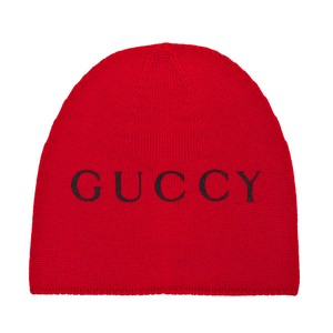 Gucci Gucci Red Beanie with Cat Print Size L Hat