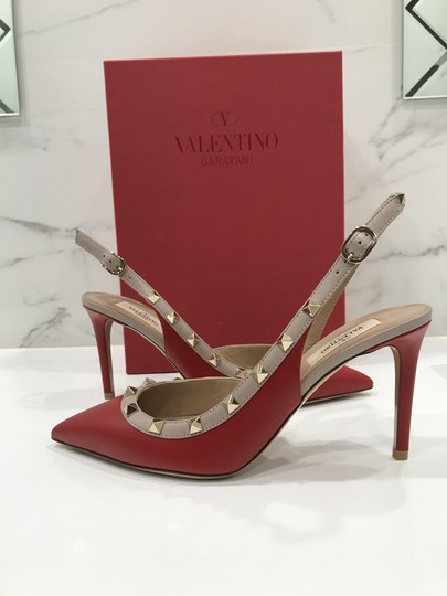 Valentino Studded Leather Pointed Toe Made In Italy Embellished Red Pumps