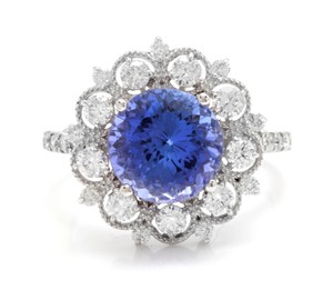 Other 5.20 Carats NATURAL TANZANITE and DIAMOND 14K Solid White Gold Ring