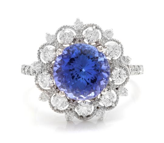 Other 5.20 Carats NATURAL TANZANITE and DIAMOND 14K Solid White Gold Ring Image 0