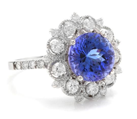 Other 5.20 Carats NATURAL TANZANITE and DIAMOND 14K Solid White Gold Ring Image 1