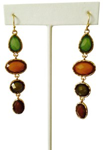 Other Faceted 4-Station Green & Amber Dangle Earrings