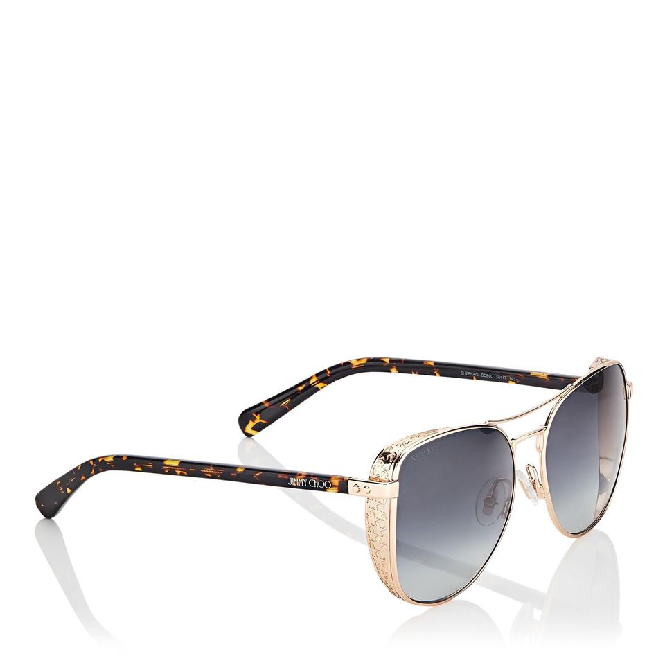 f06484b589d54 Jimmy Choo Gold Copper Sheena S Aviator with Side Shield Sunglasses ...