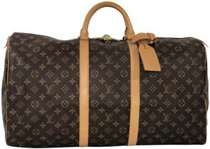 Louis Vuitton Lv Keepall Keepall 55 Monogram Top Handle Brown Travel Bag