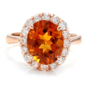 Other 2.70Ct Natural Madeira Citrine and Diamond 14K Solid Rose Gold Ring