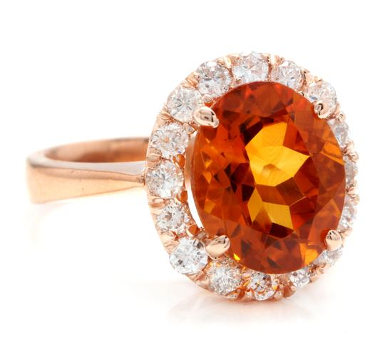 Other 2.70Ct Natural Madeira Citrine and Diamond 14K Solid Rose Gold Ring Image 1