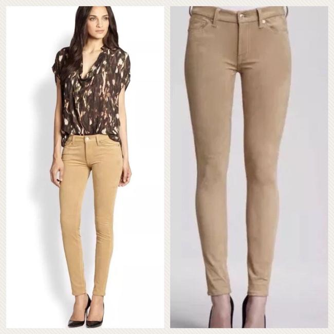 7 For All Mankind Suede Suede Leather Stretch Suede Skinny Pants camel tan Image 1