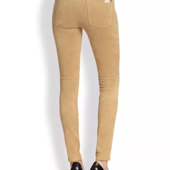 7 For All Mankind Suede Suede Leather Stretch Suede Skinny Pants camel tan Image 2