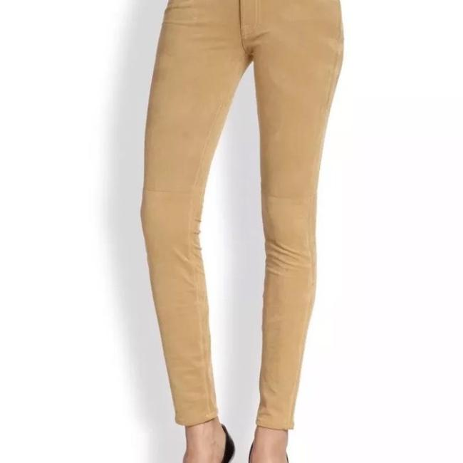 7 For All Mankind Suede Suede Leather Stretch Suede Skinny Pants camel tan Image 3