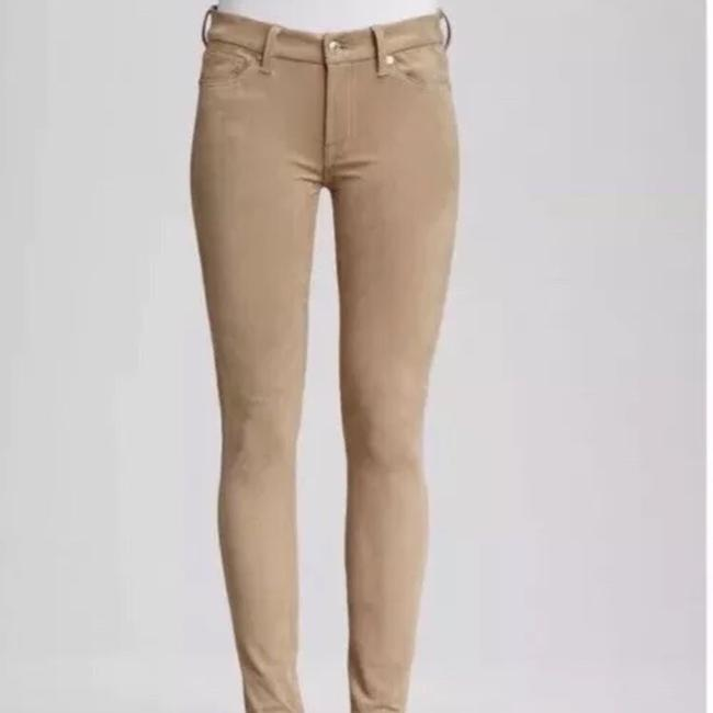 7 For All Mankind Suede Suede Leather Stretch Suede Skinny Pants camel tan Image 5