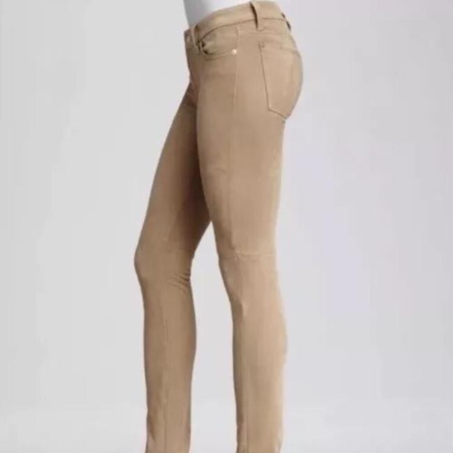 7 For All Mankind Suede Suede Leather Stretch Suede Skinny Pants camel tan Image 6