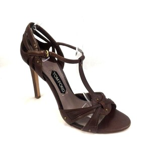 Tom Ford Leather Open Toe Ankle Strap T Strap brown Sandals