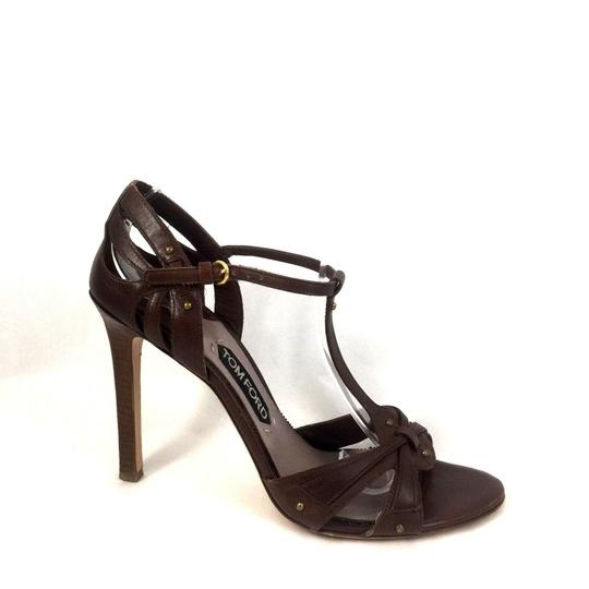 Tom Ford Leather Open Toe Ankle Strap T Strap brown Sandals Image 1
