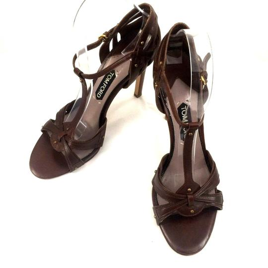Tom Ford Leather Open Toe Ankle Strap T Strap brown Sandals Image 3