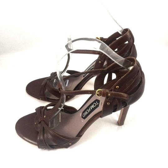 Tom Ford Leather Open Toe Ankle Strap T Strap brown Sandals Image 4