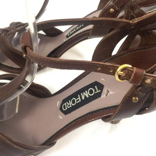 Tom Ford Leather Open Toe Ankle Strap T Strap brown Sandals Image 6