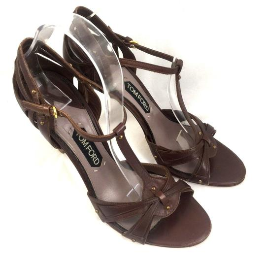 Tom Ford Leather Open Toe Ankle Strap T Strap brown Sandals Image 7